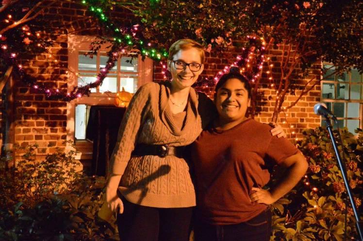 Editor-in-Chief Emily Ramser, C'17, congratulates Tolbert. Photo by Amanda Blount.