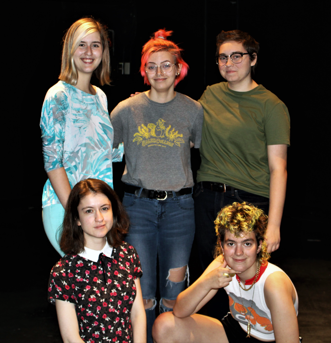 "The cast of ""Collective Rage: A Play in Five Betties"" pauses their busy preparations for their upcoming performances of the show. Left to right, top row: Cailey Neuschaefer, junior, Jordan Wallen, senior, and Kristin Draper, sophomore. Left to right, bottom row: juniors Natalie Patterson and M.K. Thompson."